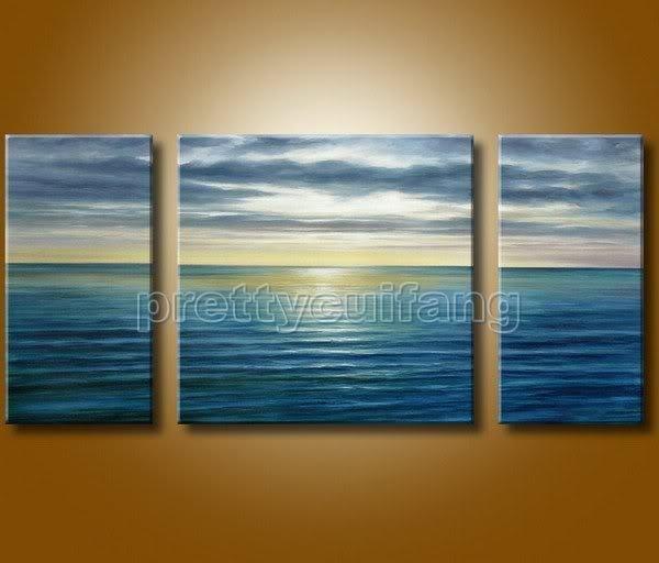 Arte Handmade Seascape Ocean Wave Set pintura a óleo 100% YP746 grátis frete(China (Mainland))