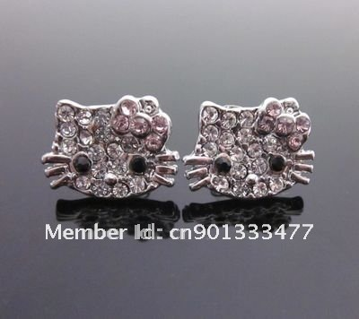 free shipping12PCS cute KT Hello Kitty pink bow crystal earring earbob e11(China (Mainland))