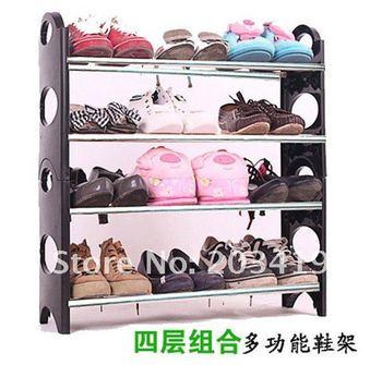 adjustable four layers shoe rack Stackable Folding shoe shelf Shoe Storage Rack space saver wholesale