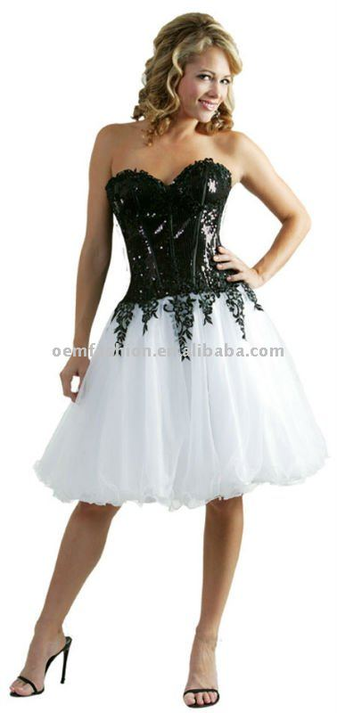 Designer White Black Short Cocktail Party Dress HL-SD305(China (Mainland))