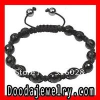 2pcs/lot,Free Shipping Fashion Mens Black Agate Onyx Shamballa Bead Macrame Bracelet TP2074 Wholesale/Retail
