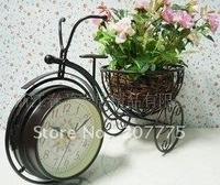 European garden fashion creative bike clock, table clock double personality, antique wrought iron clock silent Free Shipping