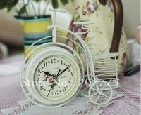 European-style rustic wrought iron, bicycle-sided clock, table clock + pen quiet fashion, personalized clock Free Shipping