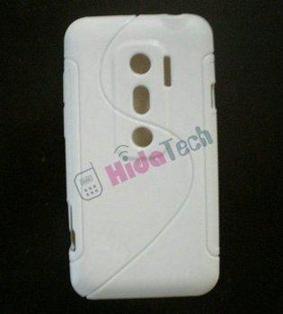 Free Shipping,white TPU Skin Soft Gel case,S Wave Soft Skin TPU Gel Case Back Cover for HTC evo 3d