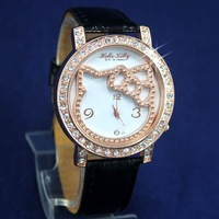 100pcs Fashion Lovely Crystal Diamond Analog Hello Kitty Cartoon Watch, Leather Wrist Watch