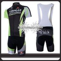 Free Shipping!! CYCLING SHORTS JERSEY+BIB SHORTS BIKE SETS CLOTHES 2011 LIQUIGAS TEAM-SIZE:S-4XL
