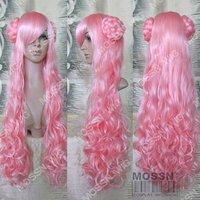 CODE GEASS EUPHEMIA LONG WAVY PINK BUN COSPLAY WIG cosplay costumes  wig