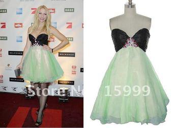 2011 Fashion Short/Mini Celebrity's Beaded Green&Black Cocktail Prom Lady's Evening Dress JH229