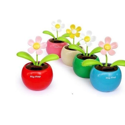 Solar Flower,flip flap solar flower,Solar Gift for car 50pcs/lot(China (Mainland))