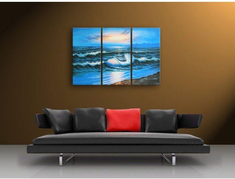 """60 """"pintura moldada ORIGINAL do sol Vista do mar ART ÓLEO SOBRE TELA 100% Frete grátis(China (Mainland))"""