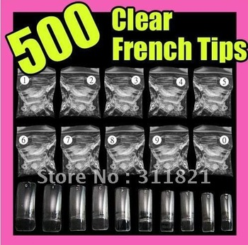 promotion free shipping Free shipping 500 pcs Acrylic French Half False Nail Tips CLEAR wholesale