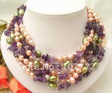 "Wonderful 64"" Purple&Green Pearl&Amethyst Necklace+free shippment(China (Mainland))"