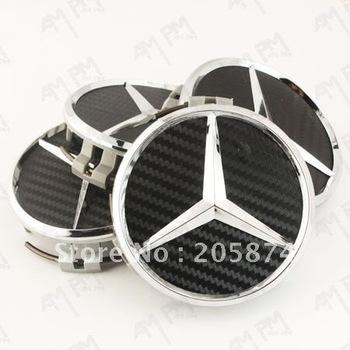 Wholesale - 100pcs carbon fiber wheel center cap for Mercedes-Benz hub cover badge emblem with Retail box 75mm