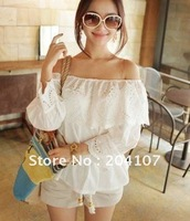 free shipping sexy boat neck lace top quarter sleeve t-shirt embroider charming trumpet sleeve shirt off shoulder