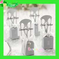 100 Miniature Silver Chair Favor Box Wedding Charm&Ribbon