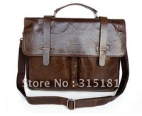100% Guarantee genuine Vintage Tan Leather Popular Men's Briefcase Laptop Handbag Messenger Bag #5646