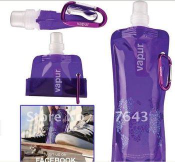 Free Shipping!!! 5% OFF 100pieces/lot Portable folding sports water bottle/480ml(16oz)(blue green orange pink black purple )