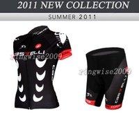 Free Shipping!! WOMEN CYCLING SHORTS JERSEY+SHORTS BIKE SETS CLOTHES 2011 CASTELLI TEAM-BLACK-SIZE:XS-XXL