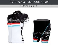 Free Shipping!! WOMEN CYCLING JERSEY+SHORTS BIKE SETS CLOTHES 2011 LEOPARD TREK-WHITE&BLACK-SIZE:XS-XXL