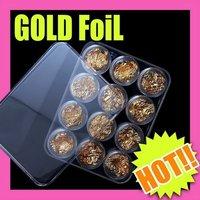 Fast & Free Shipping 5 sets x 12 pcs gold soft flake paillette nail art decoration S057