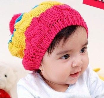 Free shipping 15pcs children baby infants Knitting princess beret beanie hats caps
