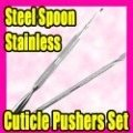Best Selling Free Shipping 2pcs/LOT Stainless Steel Cuticle Pusher Remover Nail Art Tool C007
