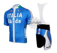 Free Shipping!! CYCLING SHORTS JERSEY+BIB SHORTS BIKE SETS CLOTHES 2011 ITALIA SKODA TEAM-BLUE-SIZE:S-4XL