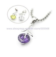 free shipping 3 pcs/lot,wholesale fashion silver necklace  crystal and alloy necklace silver pendant  jewelry accessories