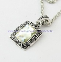 free shipping 12 pcs/lot,wholesale fashion necklace tibetan silver pendant agate and alloy pendant  jewelry accessories