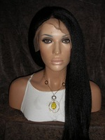 20inch #1b natural black  Kinky Straight  100% Indian Remy Human hair Full Lace Wig