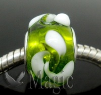 FREE SHIPPING 20 Round Green Flower Lampwork Glass Spacer Beads Fit European Charm Bracelet 14x10mm