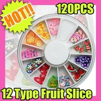 Fast & Free Shipping 5 sets x 120 pcs Fruit Slice Nail Art Diy Decoration 12 Type Cosmetic 061