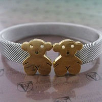 Guaranteed 100% Brand New teddy bear stainless steel cuff bracelet+ free shipping