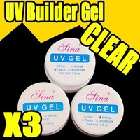 Nail Art Fast & Free Shipping Wholesales Price 3 x UV Gel Nail Art Builder Tool Clear Pink White Beauty 013