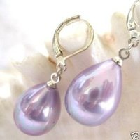 Charming lavender drip shell pearls earrings