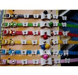 free shipping High quality !! cat collar,dog collars, small pets collar with bowknot and bells (1cm X28cm),dog collar with bells