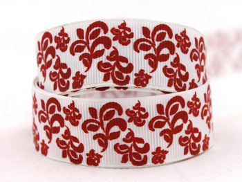 "New style 7/8"" (22mm) White bottom red flower grosgrain ribbon Printed ribbon DIY accessories 50 yards/roll Free shipping"