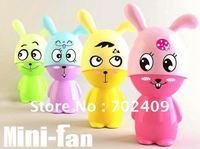 24pcs/lot Lovely rabbit Mini battery Fan mini portable Cooling fan Novelty Gifts