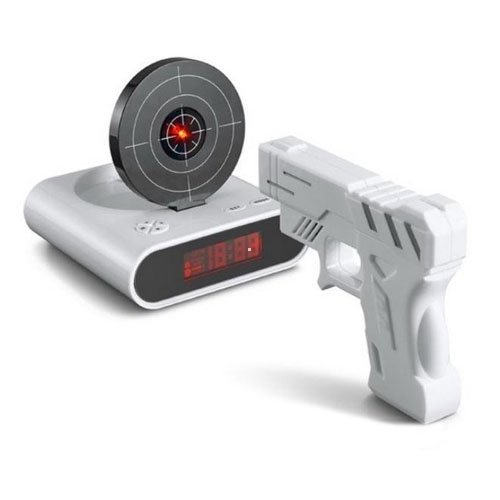 "Unique 2.3"" LCD Laser Gun Target Shooting Alarm desk Clock Set(China (Mainland))"