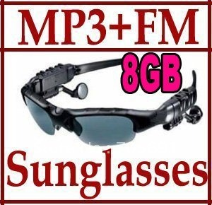 New 8GB Sunglasses Mp3 Player with FM Radio Headset Sun Glass(China (Mainland))