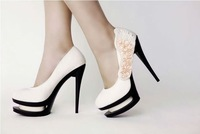 Free shipping,D5279, high heel shoes,feature thick sole type,satin,beads,flowers,accept PAYPAL