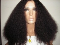 Wholesale Sexy Style Front Lace Wig Indian remy hair Kinky Curl 18inch  #1b natural black
