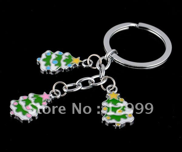 free shipping by DHL fashionable Christmas tree mix and match sold green and white alloy and painting key chains(China (Mainland))