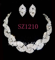 2011  wedding jewelry set fashion  rhinestone jewelry set , bridal  jewelry set, crystal necklace and earrings sz1210