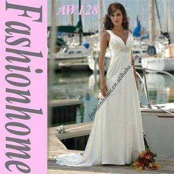 Attractive  V-neck wedding dress, Beach wedding gown, 2011 simple bride wedding dress AW128