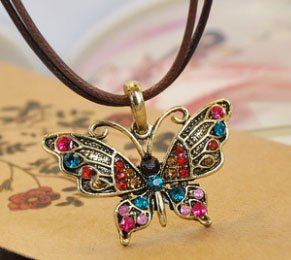 Wholesale Super Deal! 12pcs/lot Vintage Alloy Dancing Color Gemstone Butterfly Lady Pendant Necklace, Wome ...