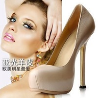 free shipping Women's Fashion Sexy Genuine Leather Platform High Heel Pump Shoes Evening Shoes Dress Shoes Size US 5-9(SH726)