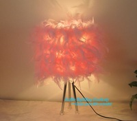Free Shipping Hot Selling Feather Table Lamp Pink Desk Bedside luminaria de mesa  Table Lights Fixture