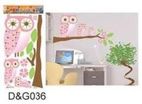 Hot selling,DIY Owl Wall Stickers,no harm to wall,Fashion Children room decal,cartoon stickers,,DG036
