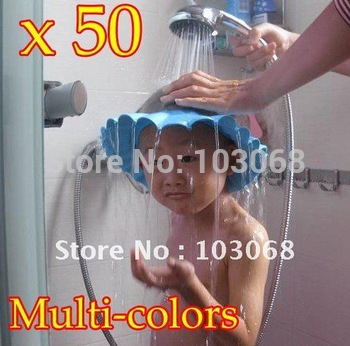 wholesale 50pcs/lot hot sale Soft Baby Kids Bath Shampoo Shower Cap Hat Free Shipping